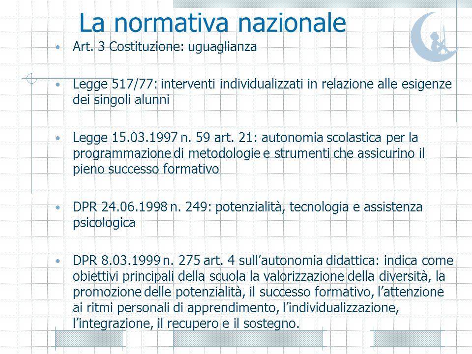 La normativa nazionale Art. 3 Costituzione: uguaglianza Legge 517/77: interventi individualizzati in relazione alle esigenze dei singoli alunni Legge