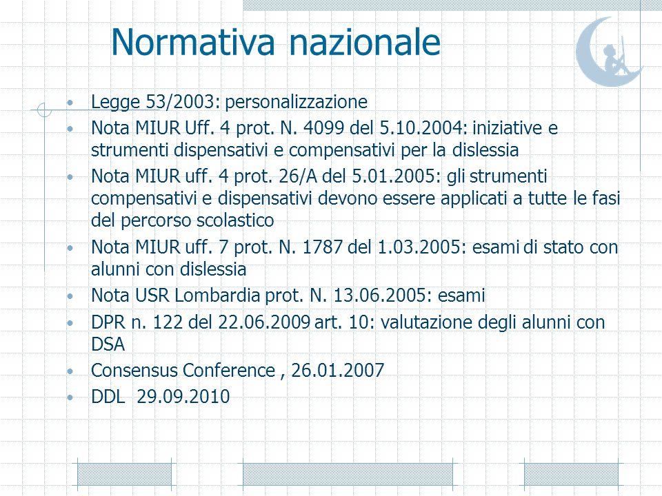Normativa nazionale Legge 53/2003: personalizzazione Nota MIUR Uff. 4 prot. N. 4099 del 5.10.2004: iniziative e strumenti dispensativi e compensativi