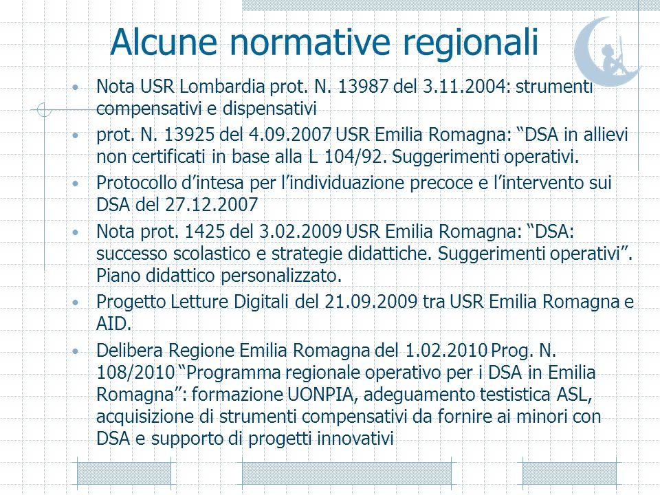 Alcune normative regionali Nota USR Lombardia prot. N. 13987 del 3.11.2004: strumenti compensativi e dispensativi prot. N. 13925 del 4.09.2007 USR Emi