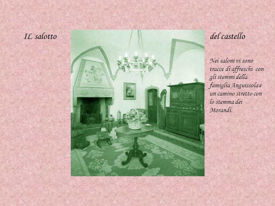 IL salottodel castello Nei saloni vi sono tracce di affreschi con gli stemmi della famiglia Anguissola e un camino stretto con lo stemma dei Morandi.