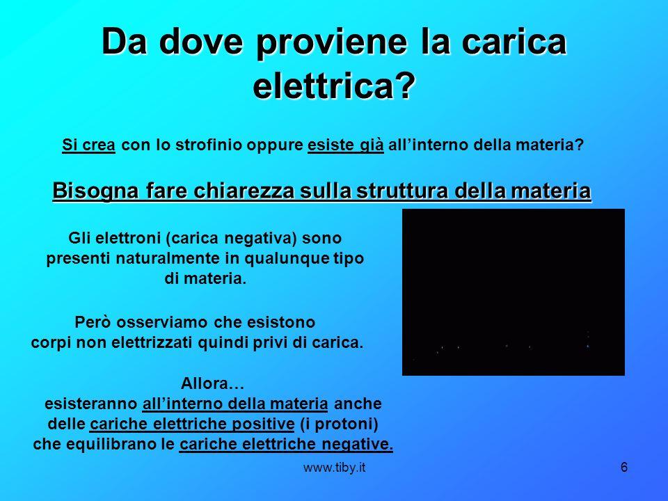 www.tiby.it6 Da dove proviene la carica elettrica? Gli elettroni (carica negativa) sono presenti naturalmente in qualunque tipo di materia. Però osser