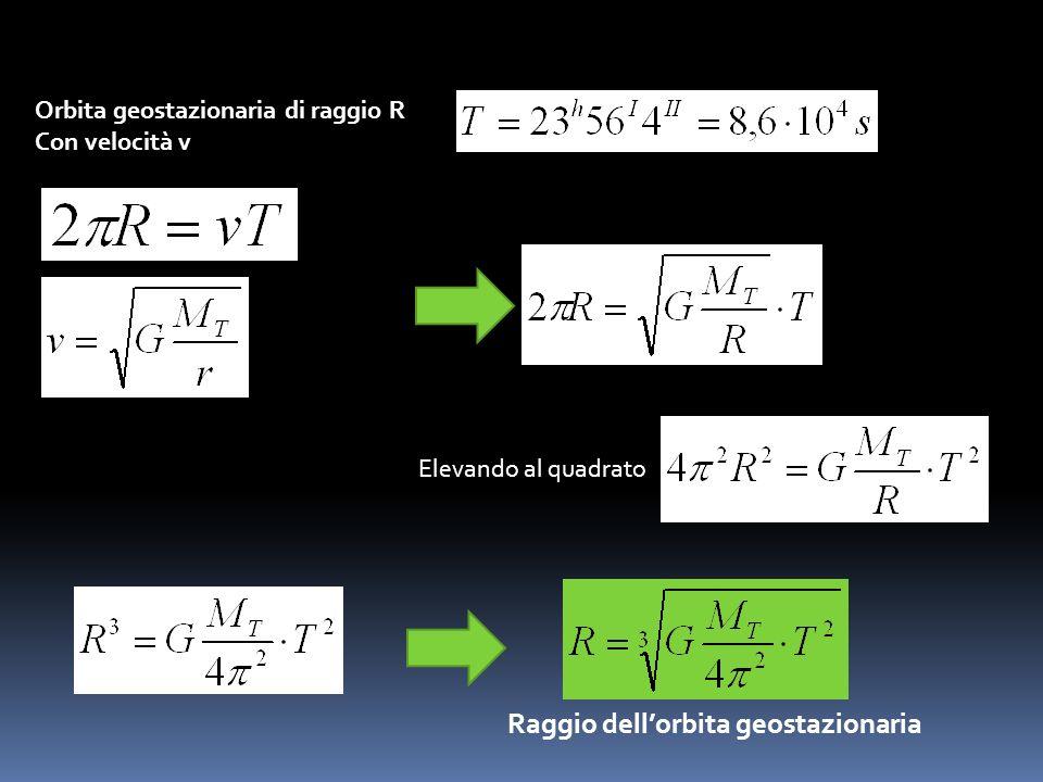 Cioè 7 volte il raggio terrestre Vediamo come calcolare il raggio di unorbita geostazionaria