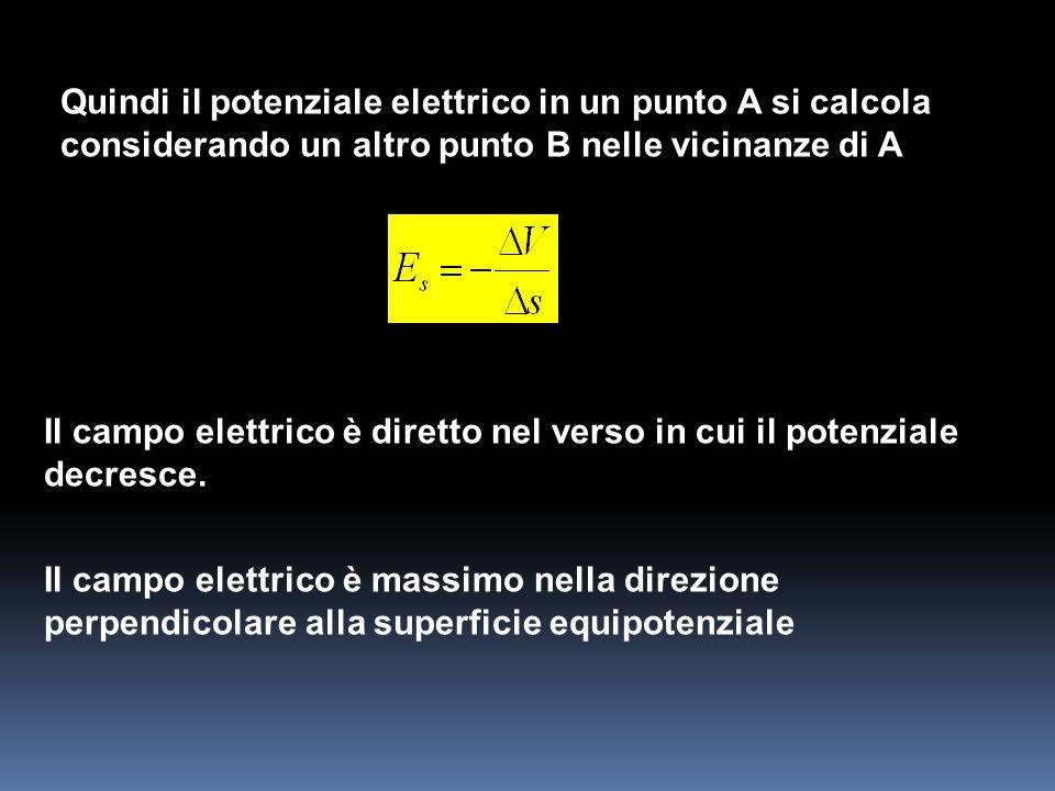 Quindi il potenziale elettrico in un punto A si calcola considerando un altro punto B nelle vicinanze di A Il campo elettrico è diretto nel verso in c