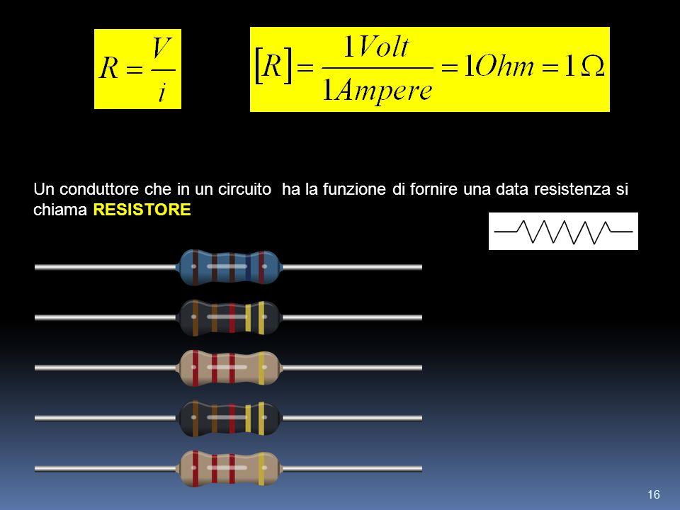 16 RESISTORE Un conduttore che in un circuito ha la funzione di fornire una data resistenza si chiama RESISTORE