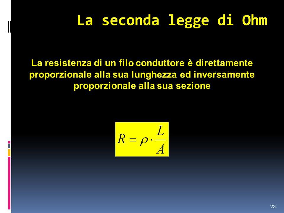 La seconda legge di Ohm 23 La resistenza di un filo conduttore è direttamente proporzionale alla sua lunghezza ed inversamente proporzionale alla sua
