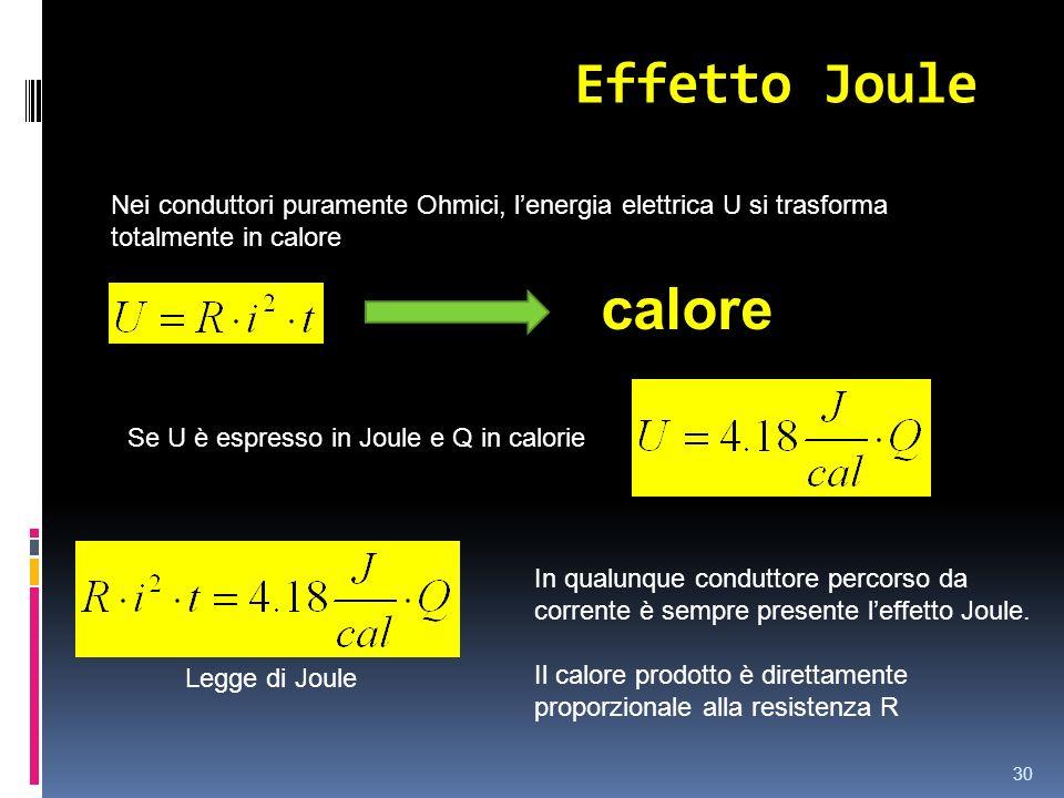 Effetto Joule 30 Nei conduttori puramente Ohmici, lenergia elettrica U si trasforma totalmente in calore calore Se U è espresso in Joule e Q in calori