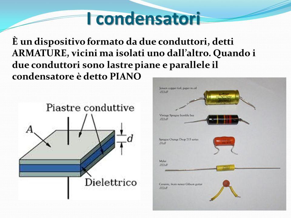 I condensatori È un dispositivo formato da due conduttori, detti ARMATURE, vicini ma isolati uno dallaltro. Quando i due conduttori sono lastre piane