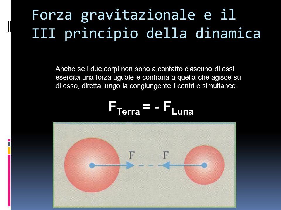 Forza gravitazionale e il III principio della dinamica Anche se i due corpi non sono a contatto ciascuno di essi esercita una forza uguale e contraria