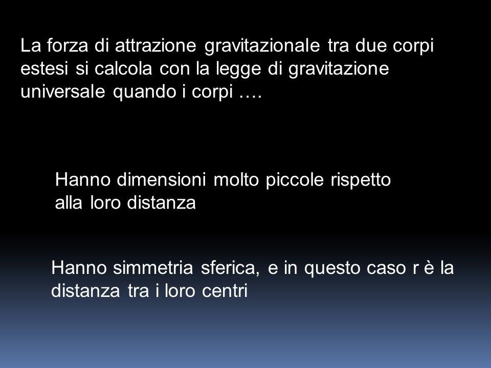 La forza di attrazione gravitazionale tra due corpi estesi si calcola con la legge di gravitazione universale quando i corpi …. Hanno dimensioni molto