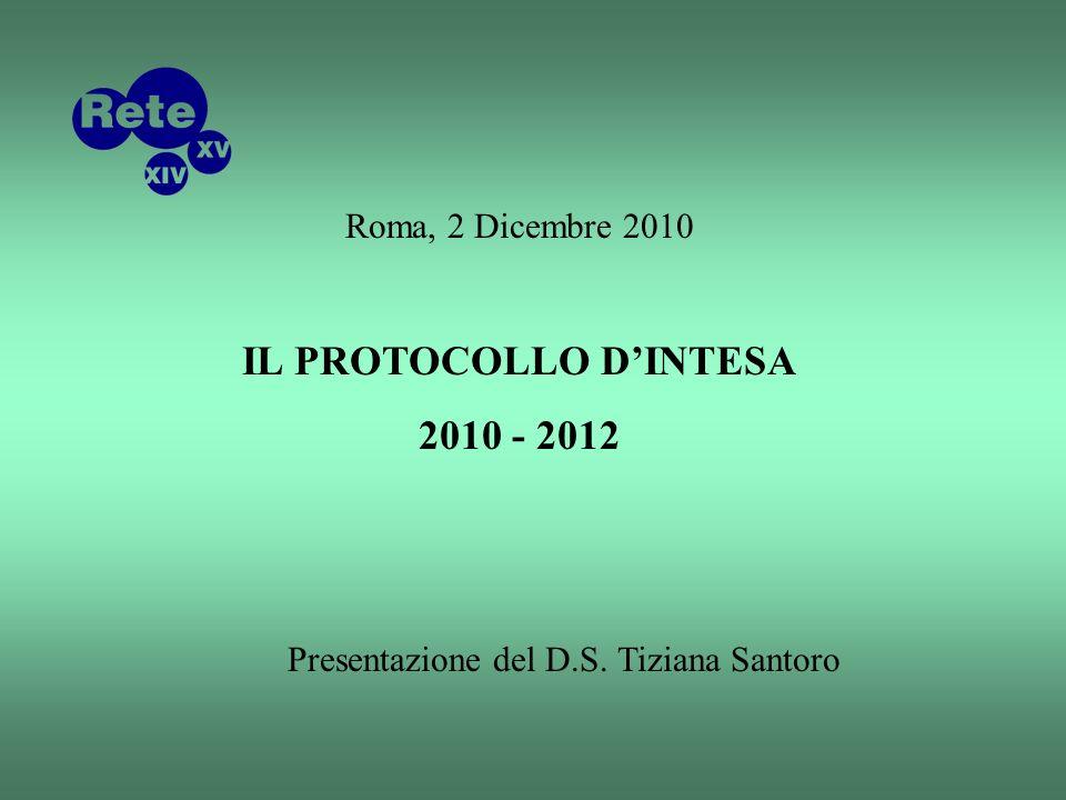 Roma, 2 Dicembre 2010 IL PROTOCOLLO DINTESA 2010 - 2012 Presentazione del D.S. Tiziana Santoro