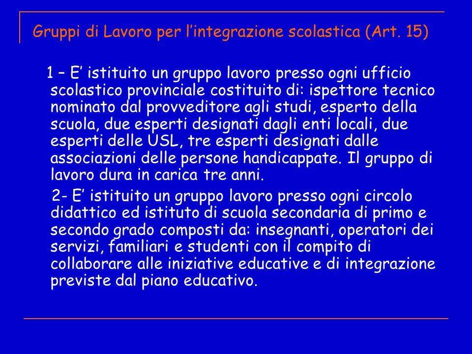 Gruppi di Lavoro per lintegrazione scolastica (Art. 15) 1 – E istituito un gruppo lavoro presso ogni ufficio scolastico provinciale costituito di: isp