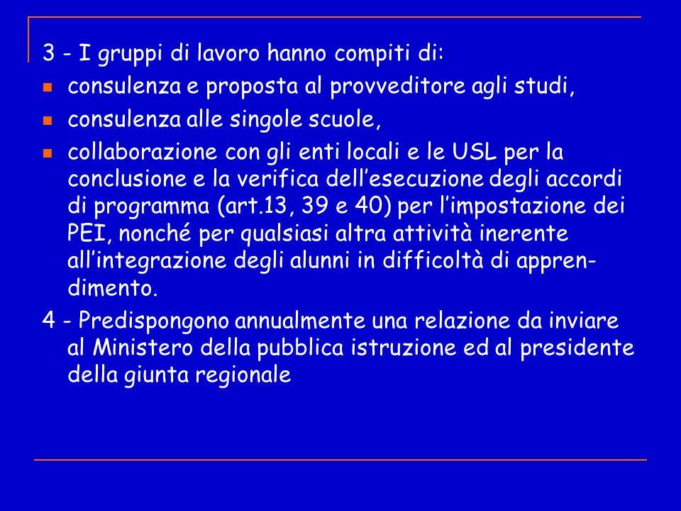 3 - I gruppi di lavoro hanno compiti di: consulenza e proposta al provveditore agli studi, consulenza alle singole scuole, collaborazione con gli enti