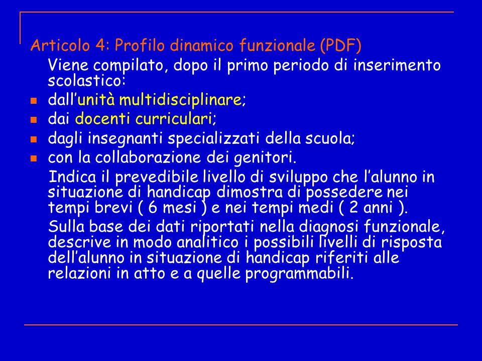Articolo 4: Profilo dinamico funzionale (PDF) Viene compilato, dopo il primo periodo di inserimento scolastico: dallunità multidisciplinare; dai docen