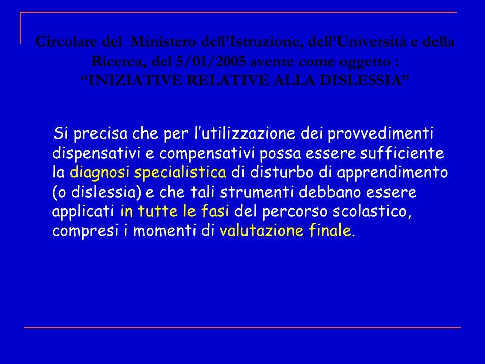 Circolare del Ministero dellIstruzione, dellUniversità e della Ricerca, del 5/01/2005 avente come oggetto : INIZIATIVE RELATIVE ALLA DISLESSIA Si prec