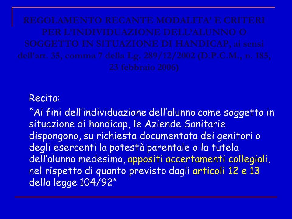 REGOLAMENTO RECANTE MODALITA E CRITERI PER LINDIVIDUAZIONE DELLALUNNO O SOGGETTO IN SITUAZIONE DI HANDICAP, ai sensi dellart. 35, comma 7 della Lg. 28