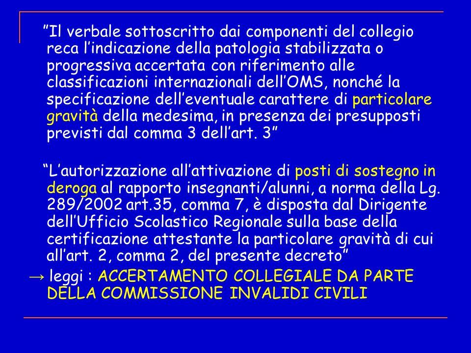 Il verbale sottoscritto dai componenti del collegio reca lindicazione della patologia stabilizzata o progressiva accertata con riferimento alle classi