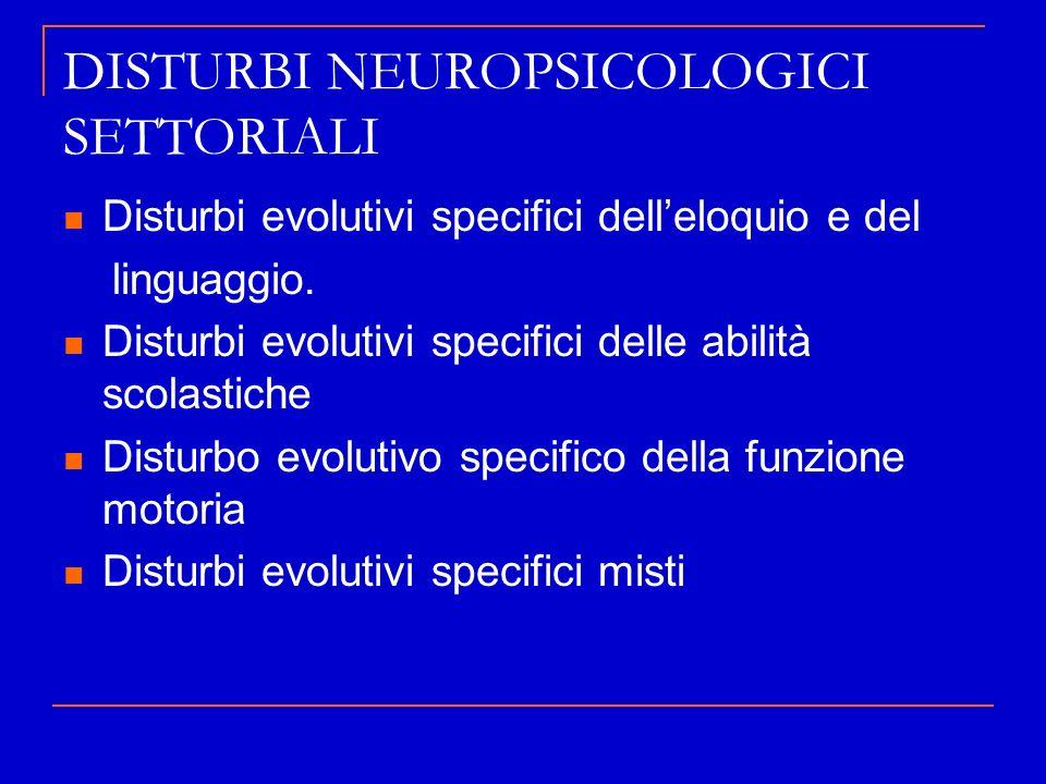 DISTURBI NEUROPSICOLOGICI SETTORIALI Disturbi evolutivi specifici delleloquio e del linguaggio. Disturbi evolutivi specifici delle abilità scolastiche