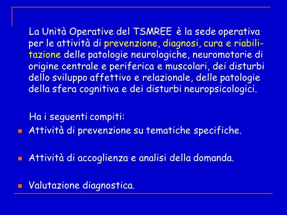 La Unità Operative del TSMREE è la sede operativa per le attività di prevenzione, diagnosi, cura e riabili- tazione delle patologie neurologiche, neur