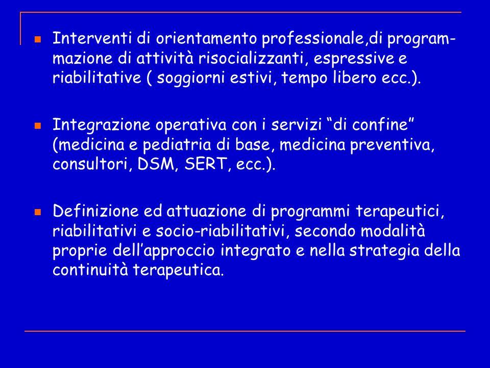 Interventi di orientamento professionale,di program- mazione di attività risocializzanti, espressive e riabilitative ( soggiorni estivi, tempo libero