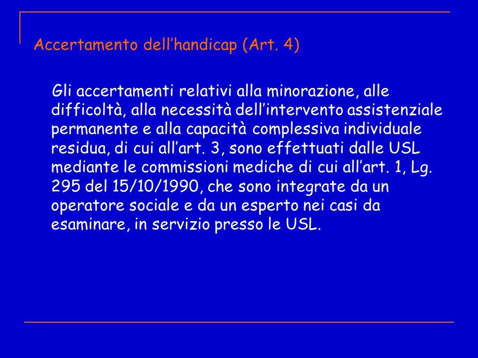 Accertamento dellhandicap (Art. 4) Gli accertamenti relativi alla minorazione, alle difficoltà, alla necessità dellintervento assistenziale permanente