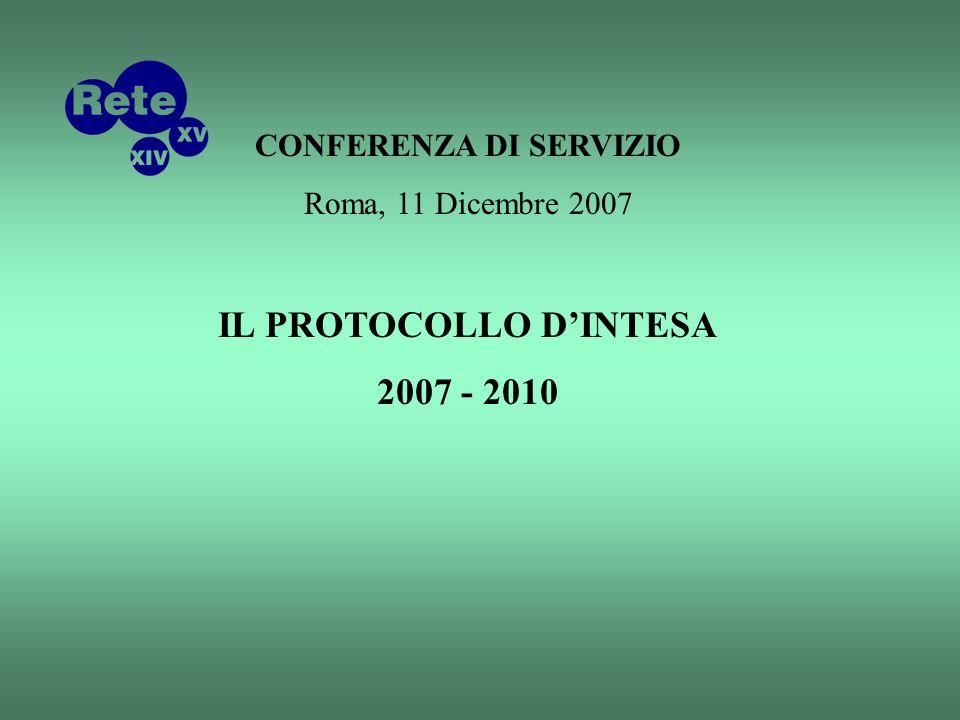 CONFERENZA DI SERVIZIO Roma, 11 Dicembre 2007 IL PROTOCOLLO DINTESA 2007 - 2010