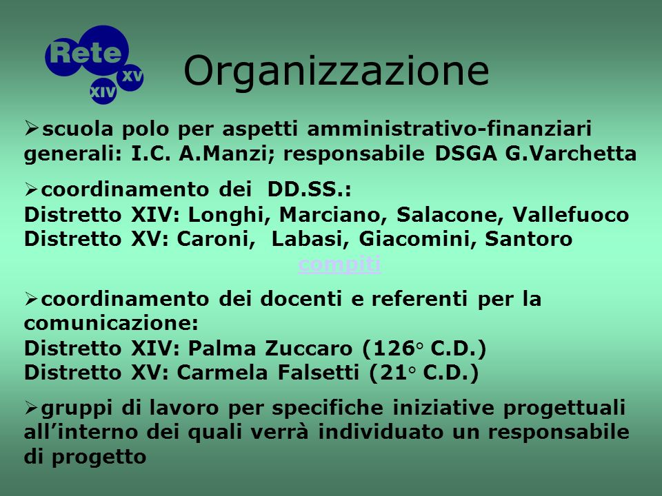 scuola polo per aspetti amministrativo-finanziari generali: I.C.