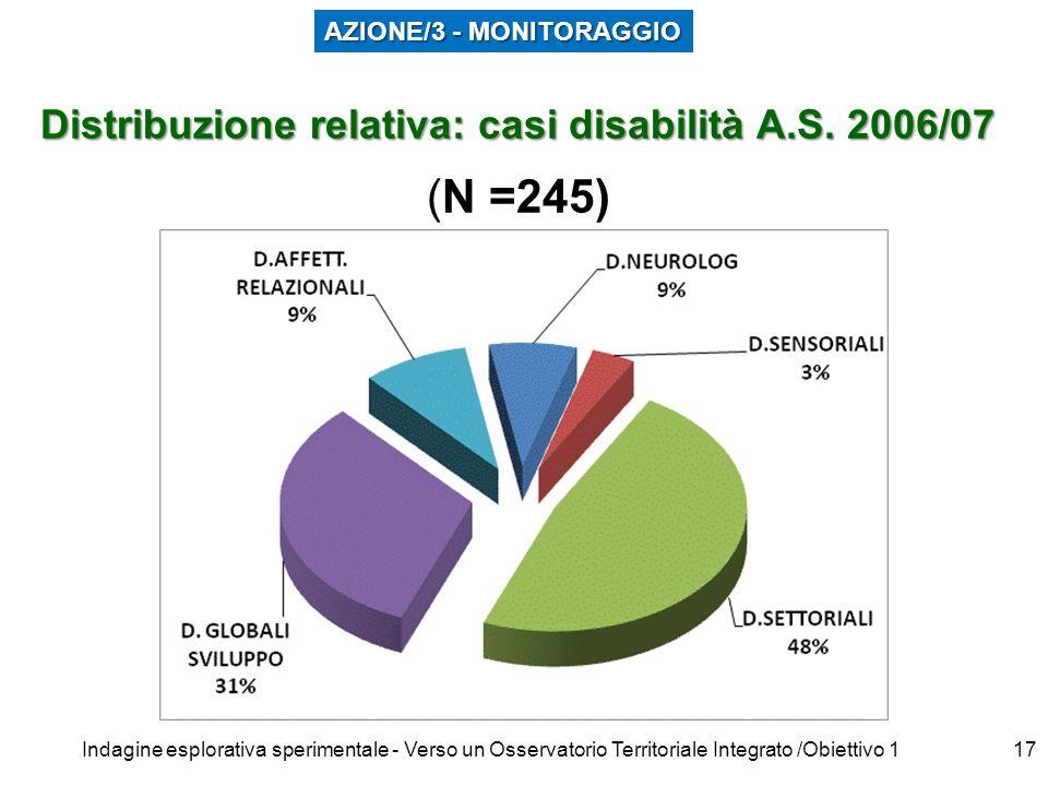 Indagine esplorativa sperimentale - Verso un Osservatorio Territoriale Integrato /Obiettivo 116 Distribuzione relativa: casi disabilità A.S. 2006/07 D