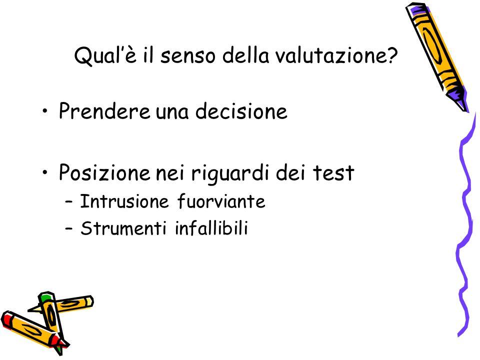 Qualè il senso della valutazione? Prendere una decisione Posizione nei riguardi dei test –Intrusione fuorviante –Strumenti infallibili