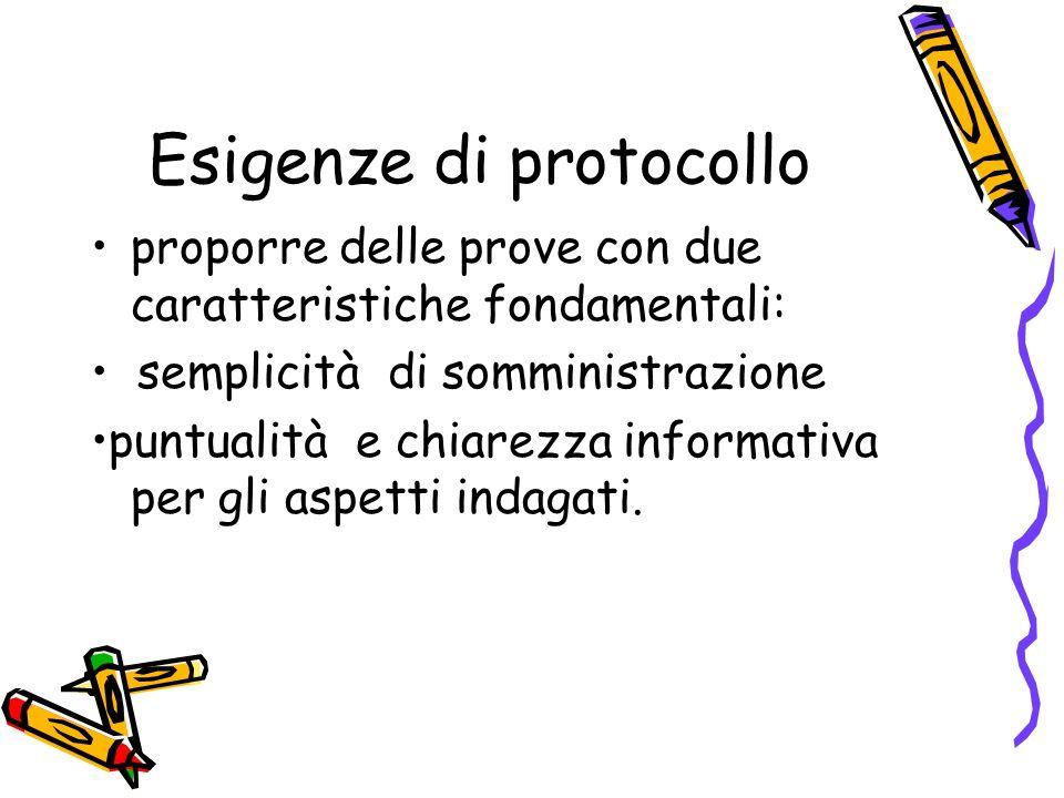 Esigenze di protocollo proporre delle prove con due caratteristiche fondamentali: semplicità di somministrazione puntualità e chiarezza informativa pe