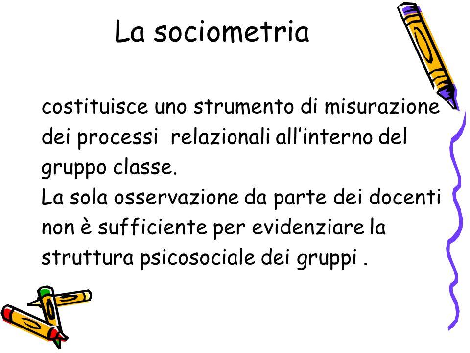 La sociometria costituisce uno strumento di misurazione dei processi relazionali allinterno del gruppo classe. La sola osservazione da parte dei docen