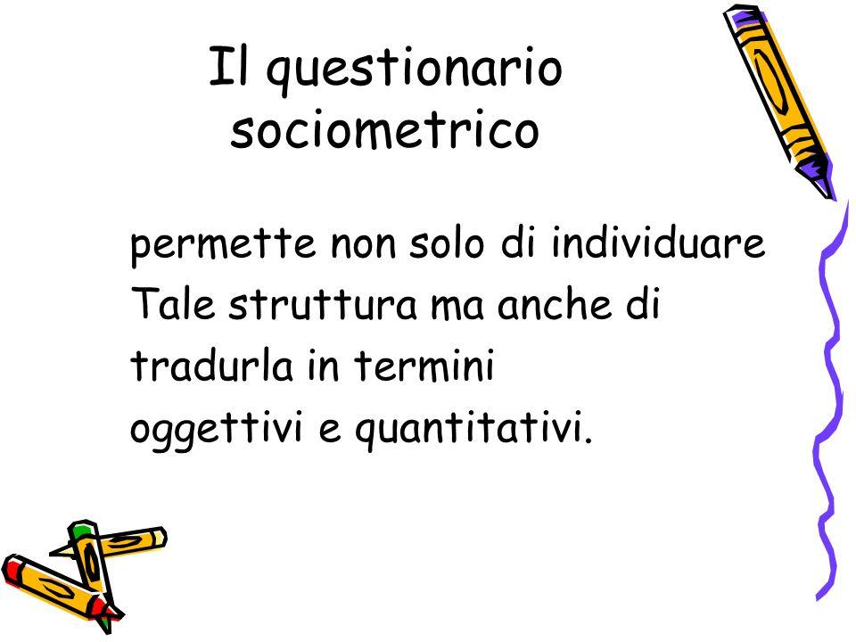 Il questionario sociometrico permette non solo di individuare Tale struttura ma anche di tradurla in termini oggettivi e quantitativi.