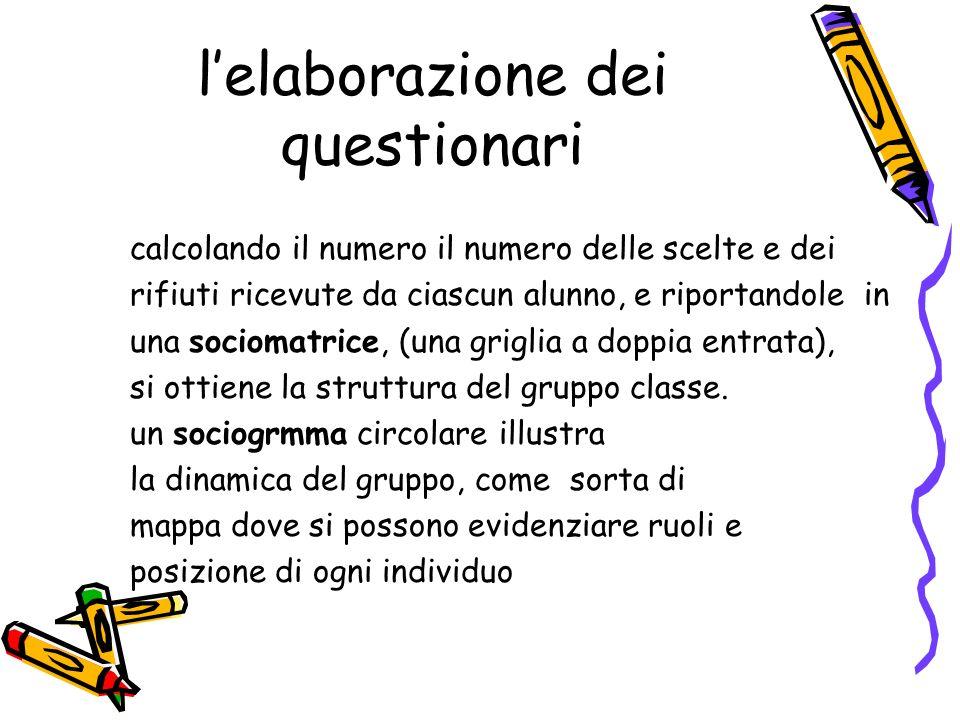 lelaborazione dei questionari calcolando il numero il numero delle scelte e dei rifiuti ricevute da ciascun alunno, e riportandole in una sociomatrice