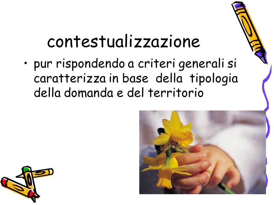 contestualizzazione pur rispondendo a criteri generali si caratterizza in base della tipologia della domanda e del territorio