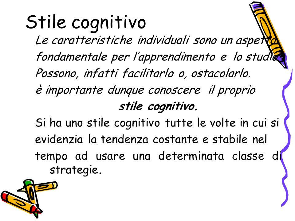 Stile cognitivo Le caratteristiche individuali sono un aspetto fondamentale per lapprendimento e lo studio. Possono, infatti facilitarlo o, ostacolarl