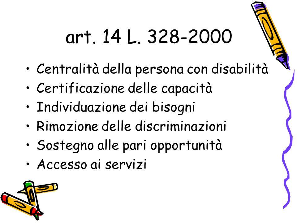 art. 14 L. 328-2000 Centralità della persona con disabilità Certificazione delle capacità Individuazione dei bisogni Rimozione delle discriminazioni S