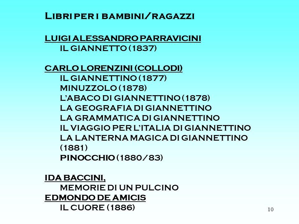 10 Libri per i bambini/ragazzi LUIGI ALESSANDRO PARRAVICINI IL GIANNETTO (1837) CARLO LORENZINI (COLLODI) IL GIANNETTINO (1877) MINUZZOLO (1878) LABACO DI GIANNETTINO (1878) LA GEOGRAFIA DI GIANNETTINO LA GRAMMATICA DI GIANNETTINO IL VIAGGIO PER LITALIA DI GIANNETTINO LA LANTERNA MAGICA DI GIANNETTINO (1881) PINOCCHIO (1880/83) IDA BACCINI, MEMORIE DI UN PULCINO EDMONDO DE AMICIS IL CUORE (1886)