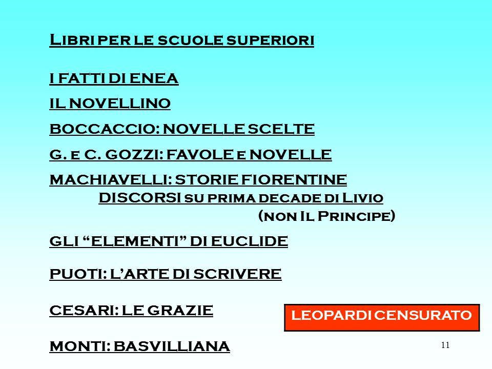 11 Libri per le scuole superiori I FATTI DI ENEA IL NOVELLINO BOCCACCIO: NOVELLE SCELTE G.