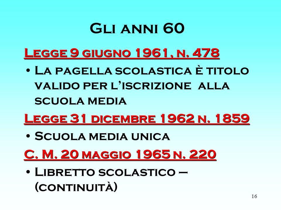 16 Gli anni 60 Legge 9 giugno 1961, n.