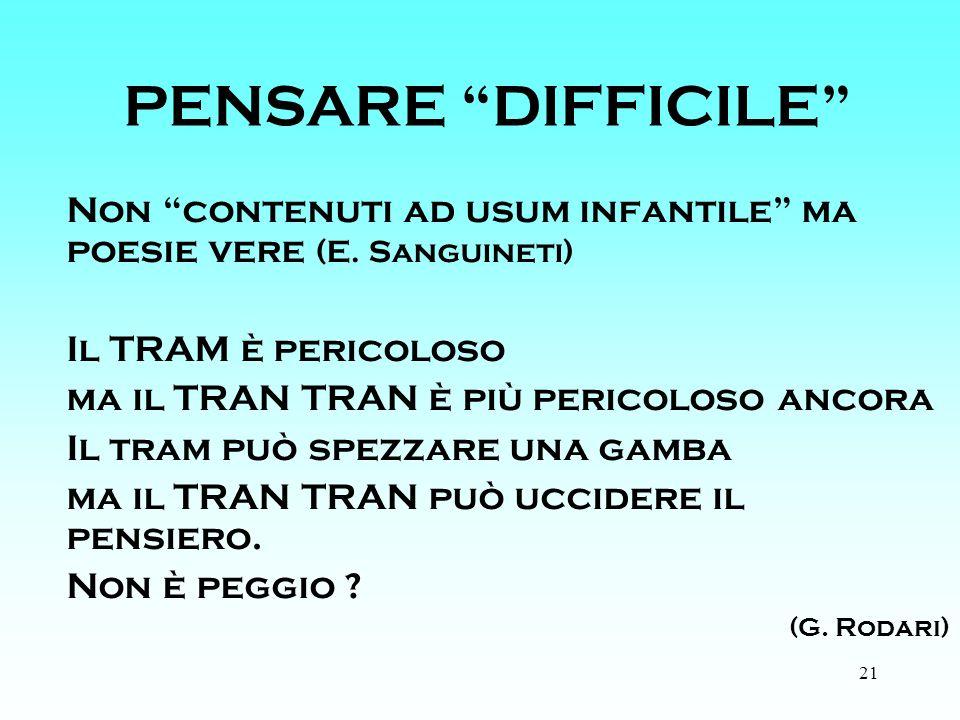 21 PENSARE DIFFICILE Non contenuti ad usum infantile ma poesie vere (E.
