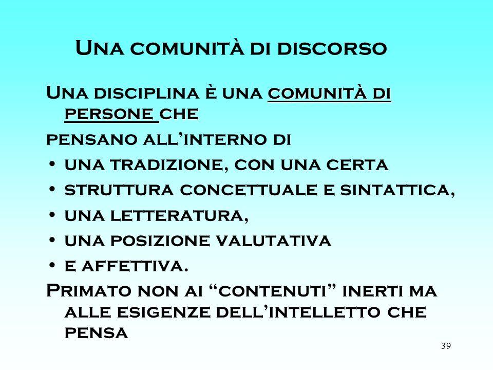 39 Una comunità di discorso comunità di persone che Una disciplina è una comunità di persone che pensano allinterno di una tradizione, con una certa struttura concettuale e sintattica, una letteratura, una posizione valutativa e affettiva.