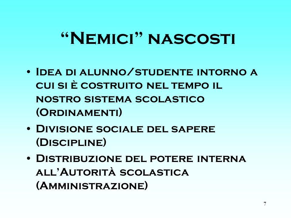 7 Nemici nascosti Idea di alunno/studente intorno a cui si è costruito nel tempo il nostro sistema scolastico (Ordinamenti) Divisione sociale del sapere (Discipline) Distribuzione del potere interna allAutorità scolastica (Amministrazione)