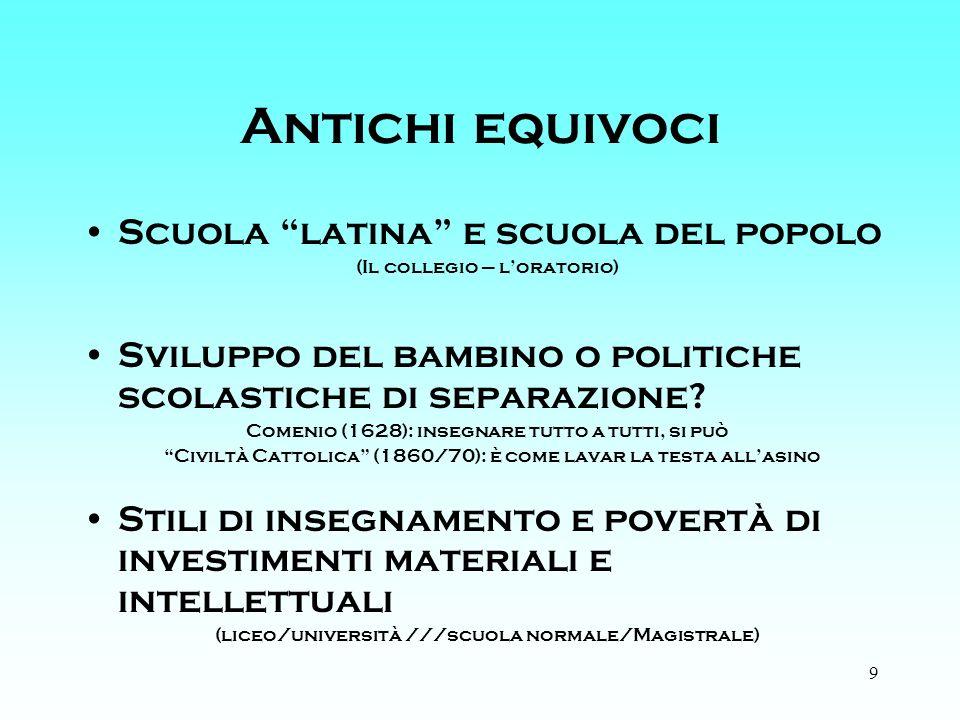 9 Antichi equivoci Scuola latina e scuola del popolo (Il collegio – loratorio) Sviluppo del bambino o politiche scolastiche di separazione.