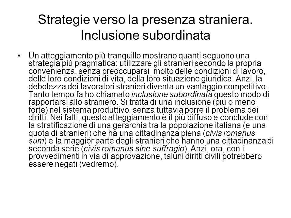 Strategie verso la presenza straniera. Inclusione subordinata Un atteggiamento più tranquillo mostrano quanti seguono una strategia più pragmatica: ut