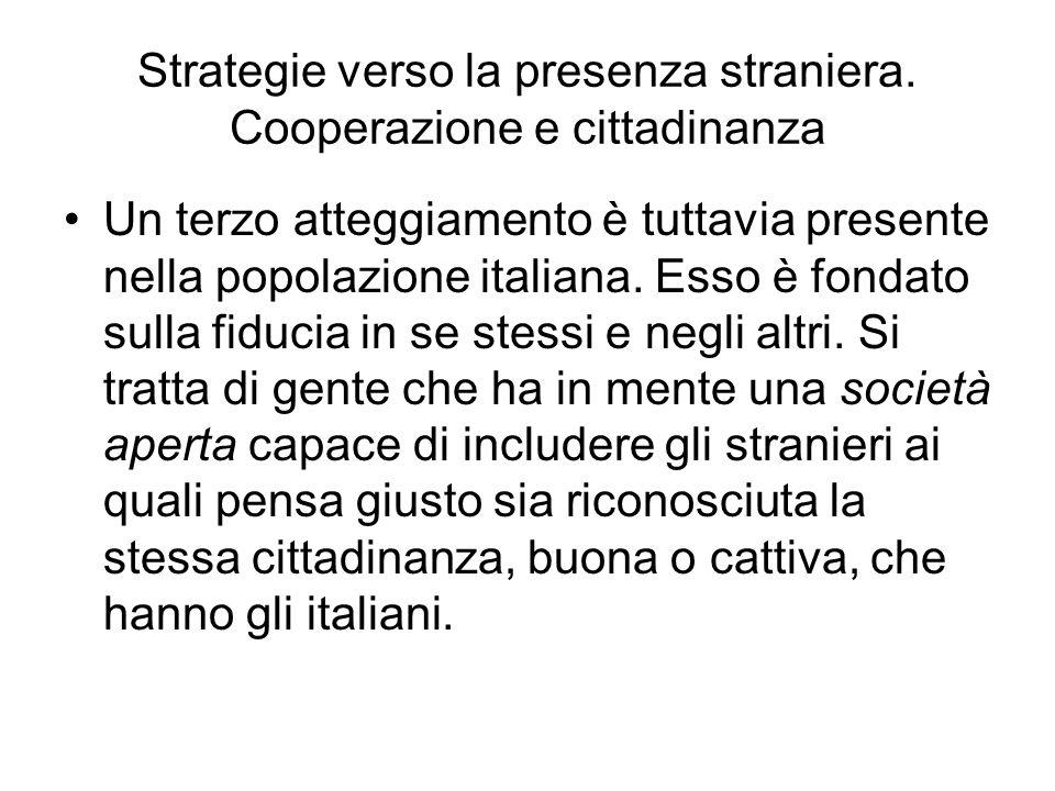 Strategie verso la presenza straniera. Cooperazione e cittadinanza Un terzo atteggiamento è tuttavia presente nella popolazione italiana. Esso è fonda