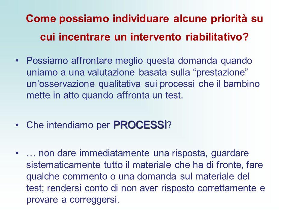Come possiamo individuare alcune priorità su cui incentrare un intervento riabilitativo.