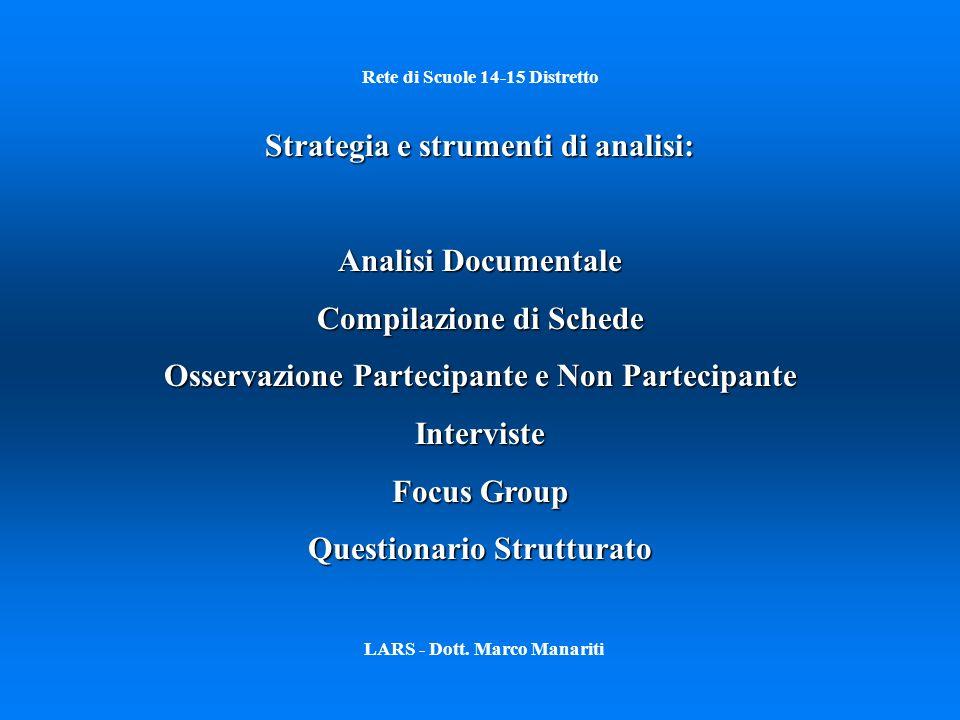 Rete di Scuole 14-15 Distretto LARS - Dott. Marco Manariti Strategia e strumenti di analisi: Analisi Documentale Compilazione di Schede Osservazione P