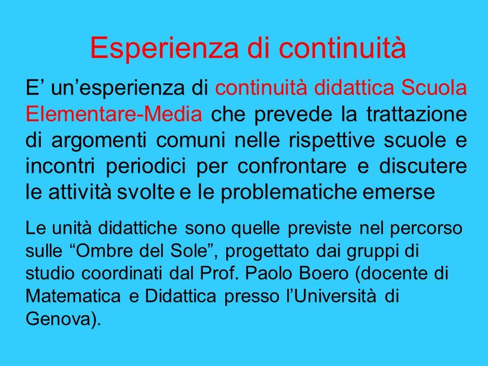 Esperienza di continuità E unesperienza di continuità didattica Scuola Elementare-Media che prevede la trattazione di argomenti comuni nelle rispettiv