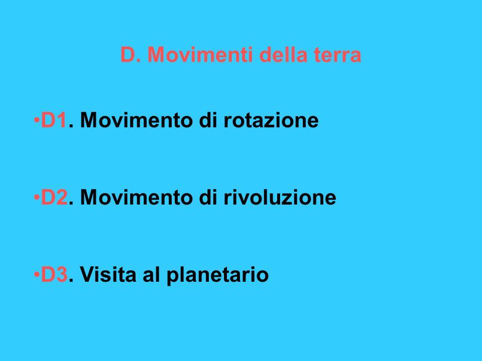 D. Movimenti della terra D1. Movimento di rotazione D2. Movimento di rivoluzione D3. Visita al planetario