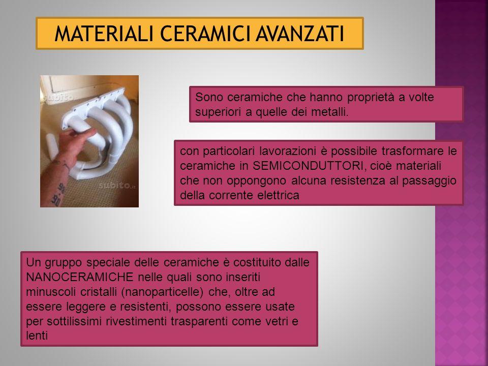 MATERIALI CERAMICI AVANZATI Sono ceramiche che hanno proprietà a volte superiori a quelle dei metalli.