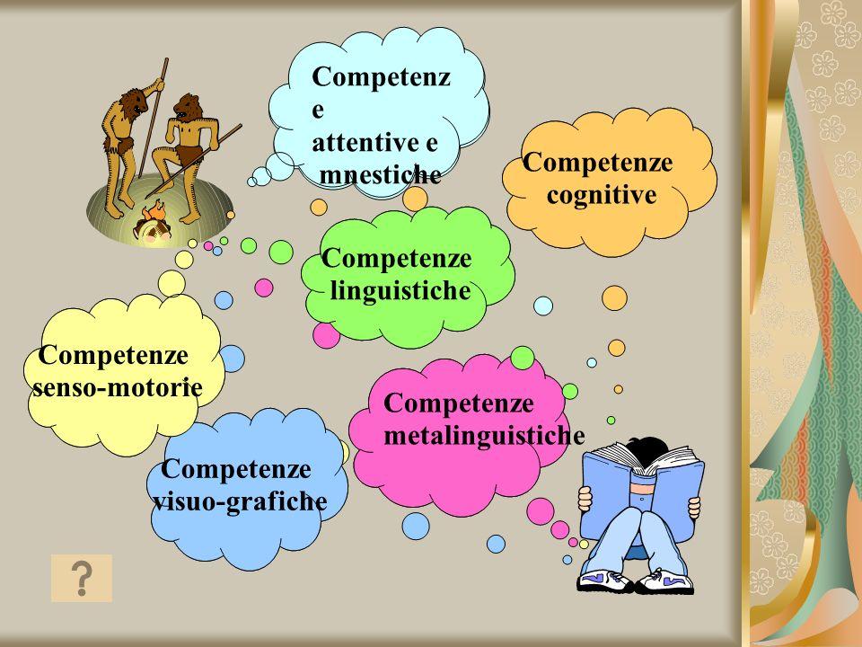 Competenze senso-motorie Competenze visuo-grafiche Competenze linguistiche Competenze simboliche Competenze metalinguistiche Competenz e attentive e m